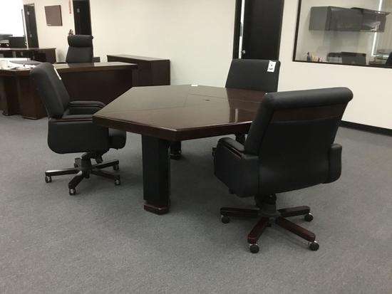 Birmingham 6' Brown Walnut Meeting Table w/6 Mid Back Chairs