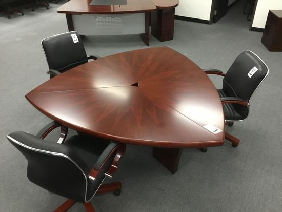 Phoenix 60 Deluxe Meeting Table w/3 Palo Alto Mid-Back Chairs in Enriched Walnut