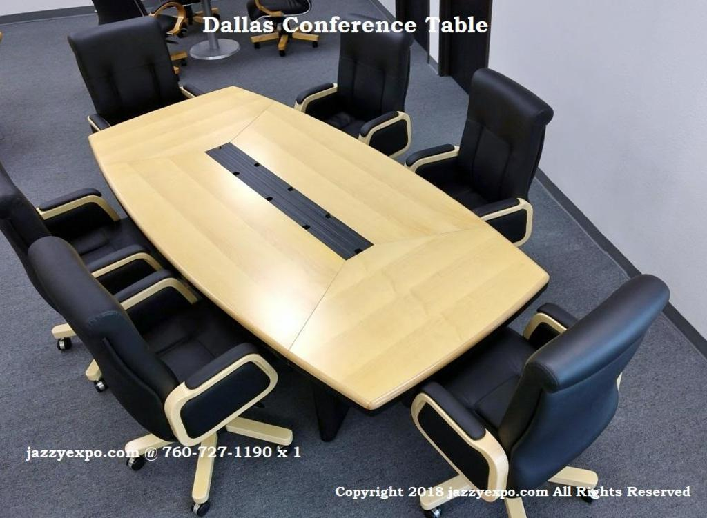 8ft. 2in. Dallas Conference Table and (6) Newport Mid-Back Black Leather Chairs