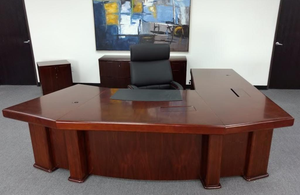 9ft. Left Return Washington Executive Desk, Mountain View High-Back Chair, and credenza