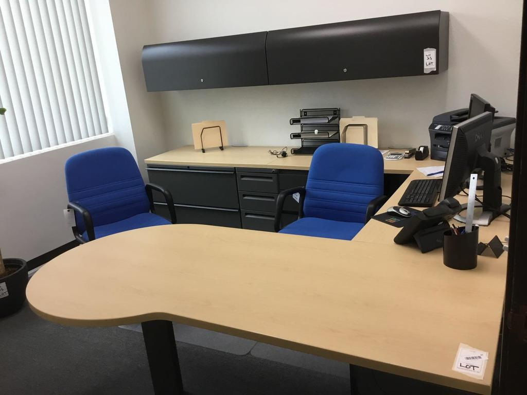 Desk, Cabinet and (2) Chairs Set