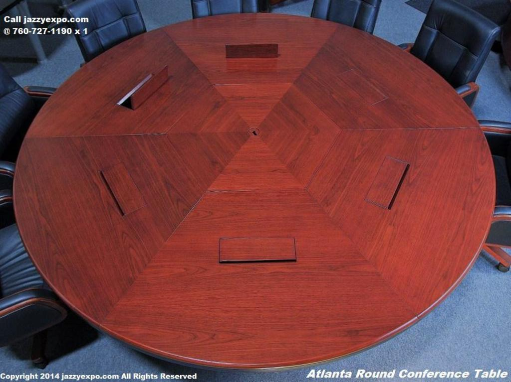 "Atlanta 8ft-6"" diameter x 30 in high. Enriched Walnut Round Conference Table."