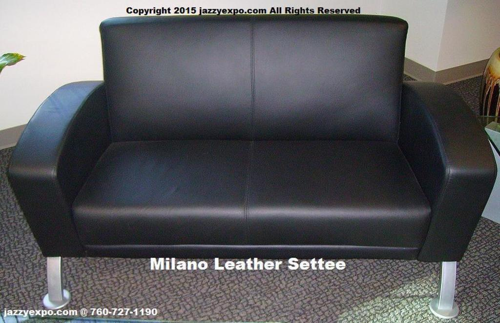 Milano Settee Sofa in Black Leather