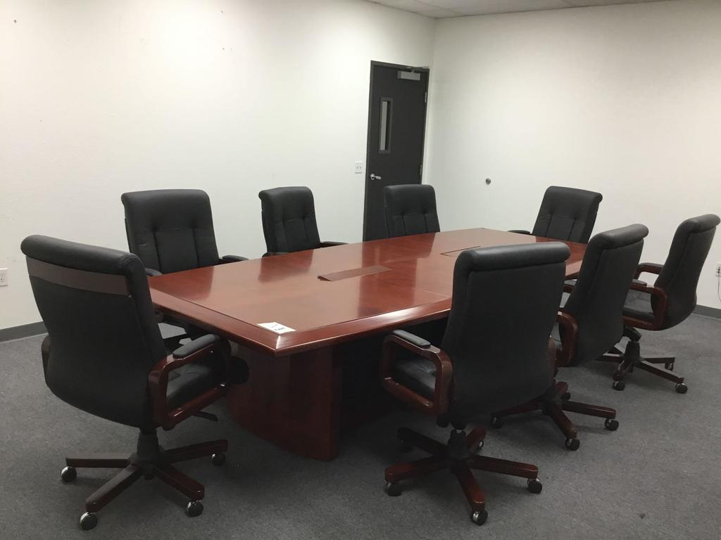 Baltimore Art Deco Boat Shape Conference Table w/8 Mid-Back Leather Chairs, Whiteboard Cabinet and 2