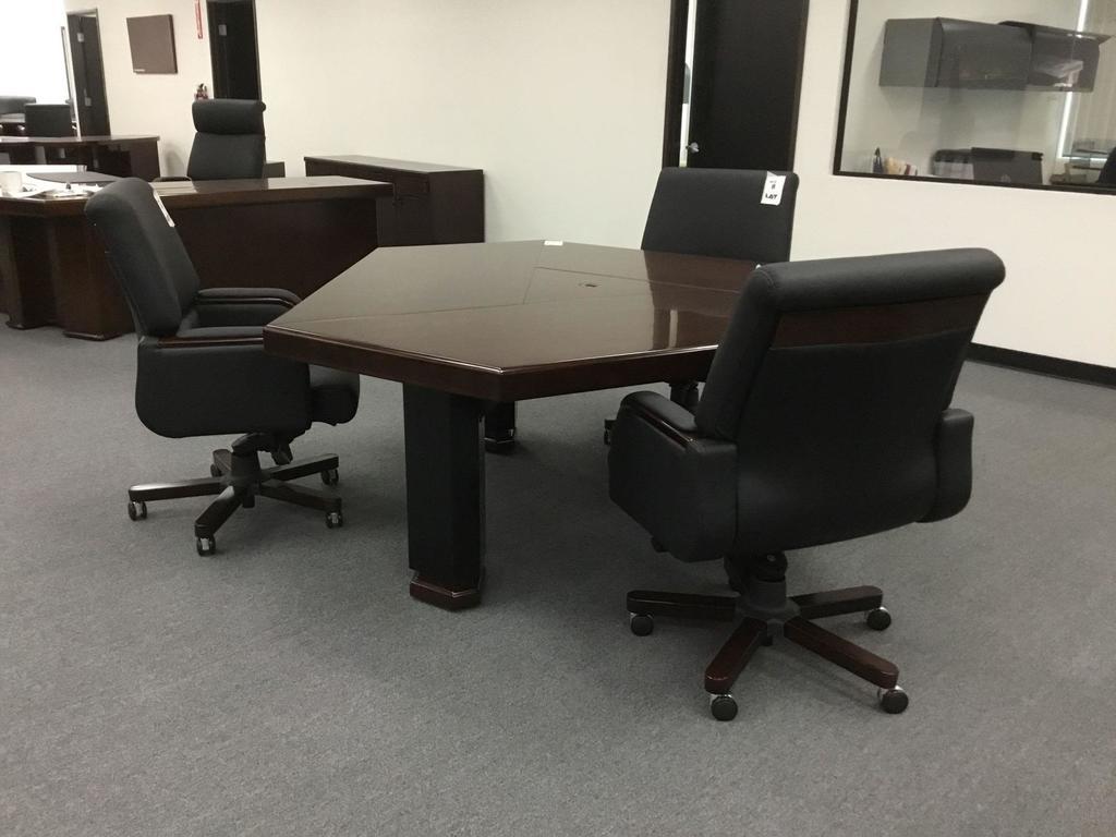 Birmingham 6' Brown Walnut Meeting Table w/6 Mid Back Chairs
