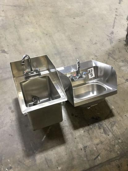 (2) Small Stainless Steel Kitchen Hand Washing Sinks