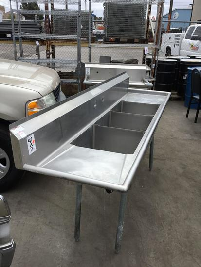 (2) Large Commercial Stainless Steel Dish Washing Sinks