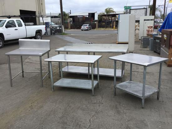 (4) Large Commercial Stainless Steel Tables