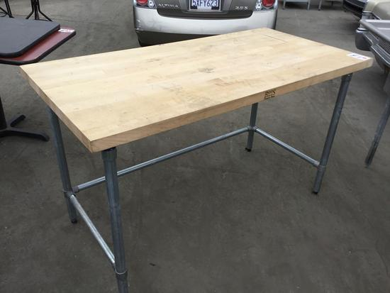 Large Wood Bench with Butcher Block Top and Metal Legs