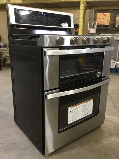 Whirlpool 6.0 Cu. Ft. Gas Double Oven Range with EZ 2 Lift Hinged Grates ***TURNS ON***