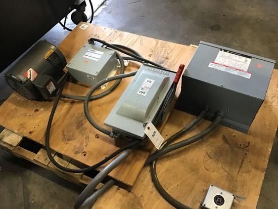 Square D Transformer, Siemens Disconnect Box, Temco Rotary Phase Convertor and Baldor Motor