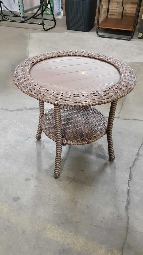 Hampton Cambridge Brown Resin Wicker Round Side Table