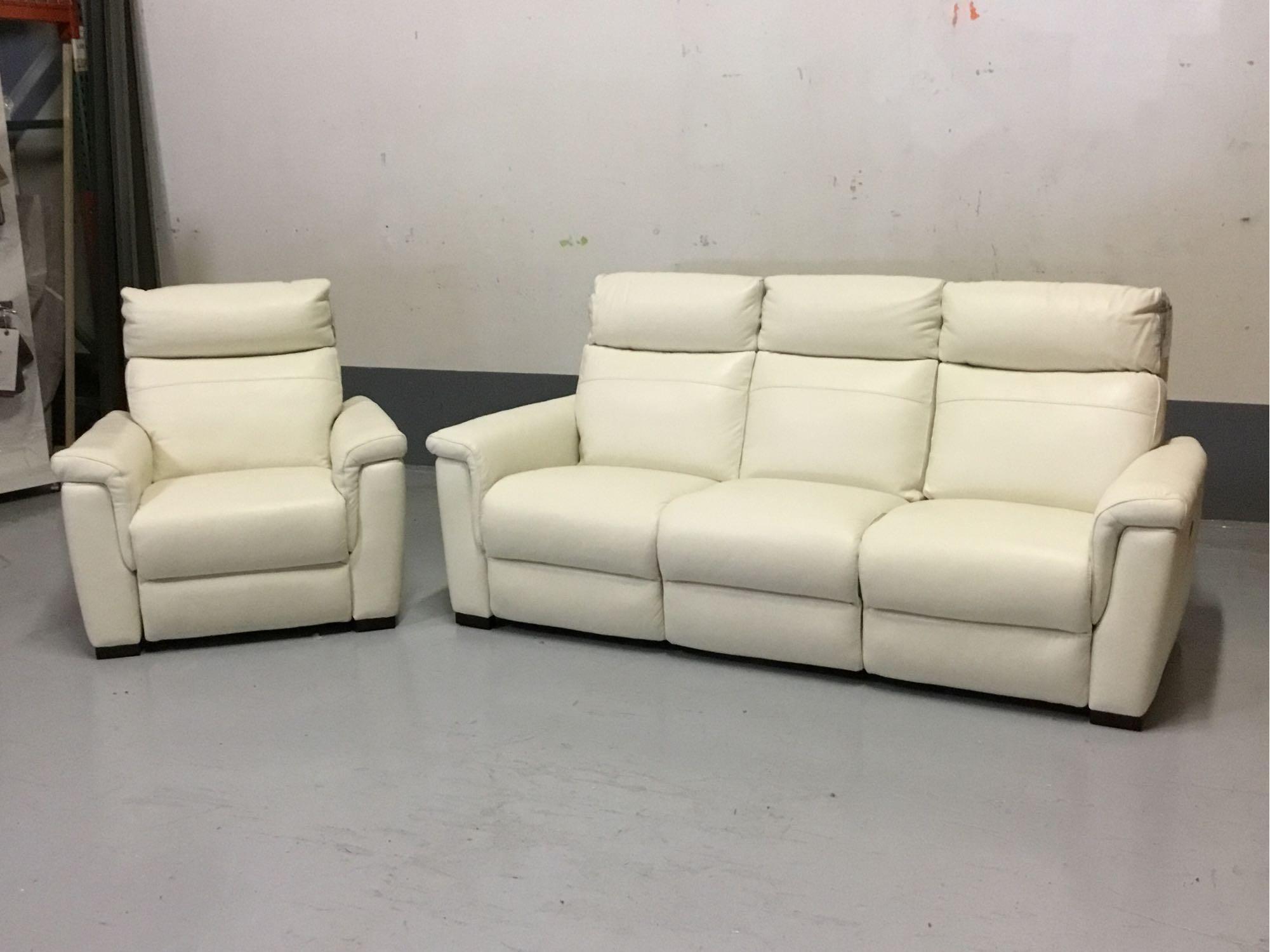 Remarkable Violino Power Reclining Torello White Leather Sofa W Machost Co Dining Chair Design Ideas Machostcouk