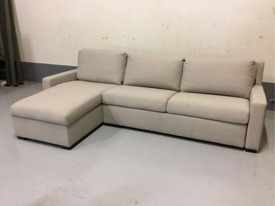 American Leather Hero Grey Left Arm Sitting Queen Sleeper Sectional