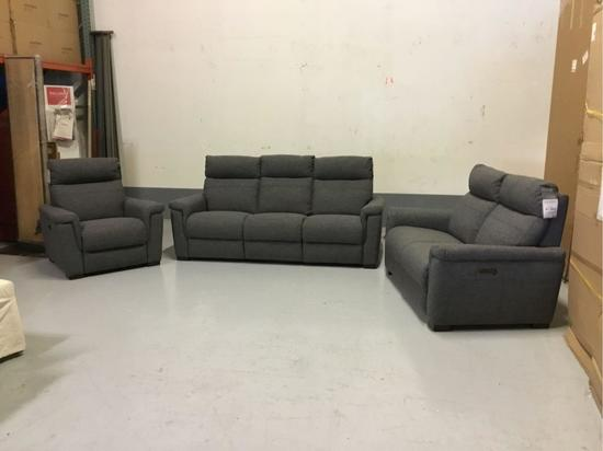 Violino Power-Reclining Manchester Pewter Fabric Sofa, Loveseat and Chair
