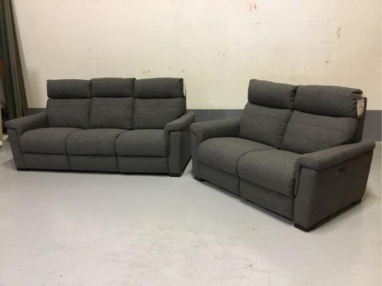 Violino Power-Reclining Manchester Pewter Fabric Sofa and Loveseat
