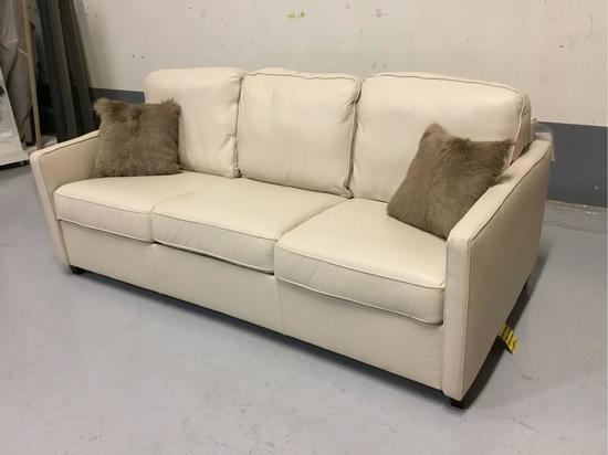 Palliser Furniture Cloud Z California Tulsa II Bisque Leather Queen Sleeper Sofa