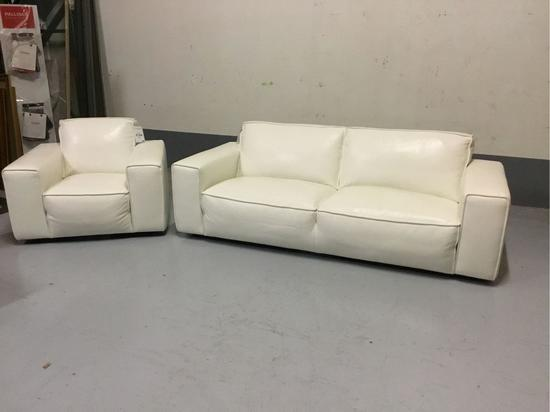 Violino White Leather Sofa w/Matching Chair