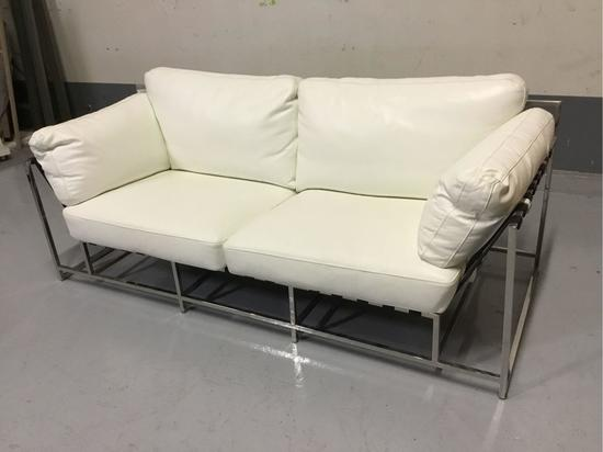 Lazzaro Leather Antonio White & Chrome Leather Condo Size Sofa