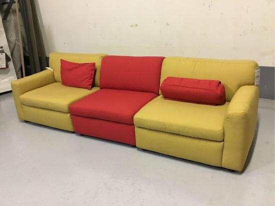 Natuzzi 3-Piece Gold and Red Fabric Modular Sofa