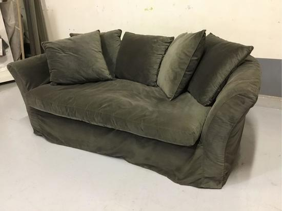 Grey Slip-Covered Fabric Sofa w/Pillows