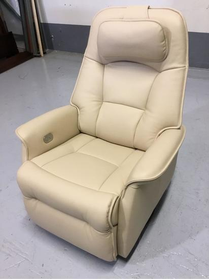 Fjords USA Inc. Stockholm Latte Leather Large Swivel/Rocking Power-Relaxer/Recliner