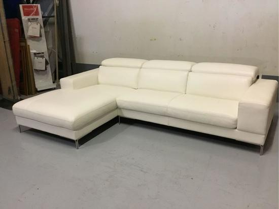 Bellini Modern Living Marlene LHF White Leather Sectional
