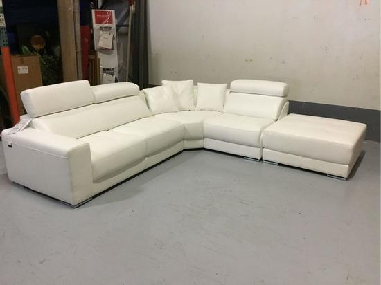 Delta Salotti Italia 5-Piece Bianco Ottico Roma White All-Leather Sectional