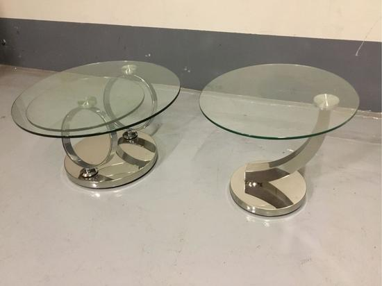 (1) Bellini Modern Living Solar Glass Top Coffee Table and (1) Allure Glass Top End Table