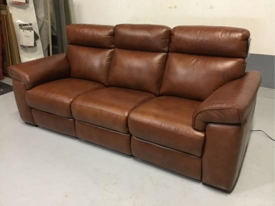 Violino Power-Reclining Antique Saddle Italian Leather Sofa