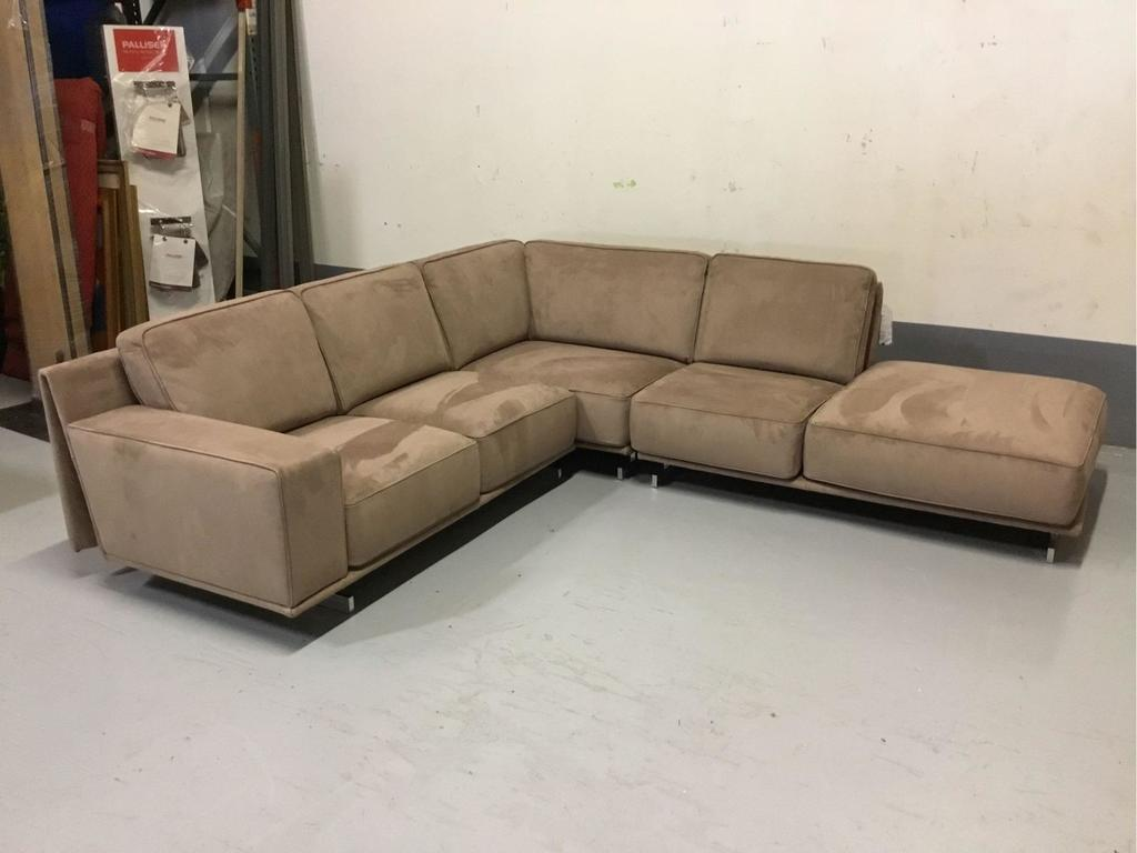 Babylon RHF Light Brown Suede Leather 3-Piece Sectional