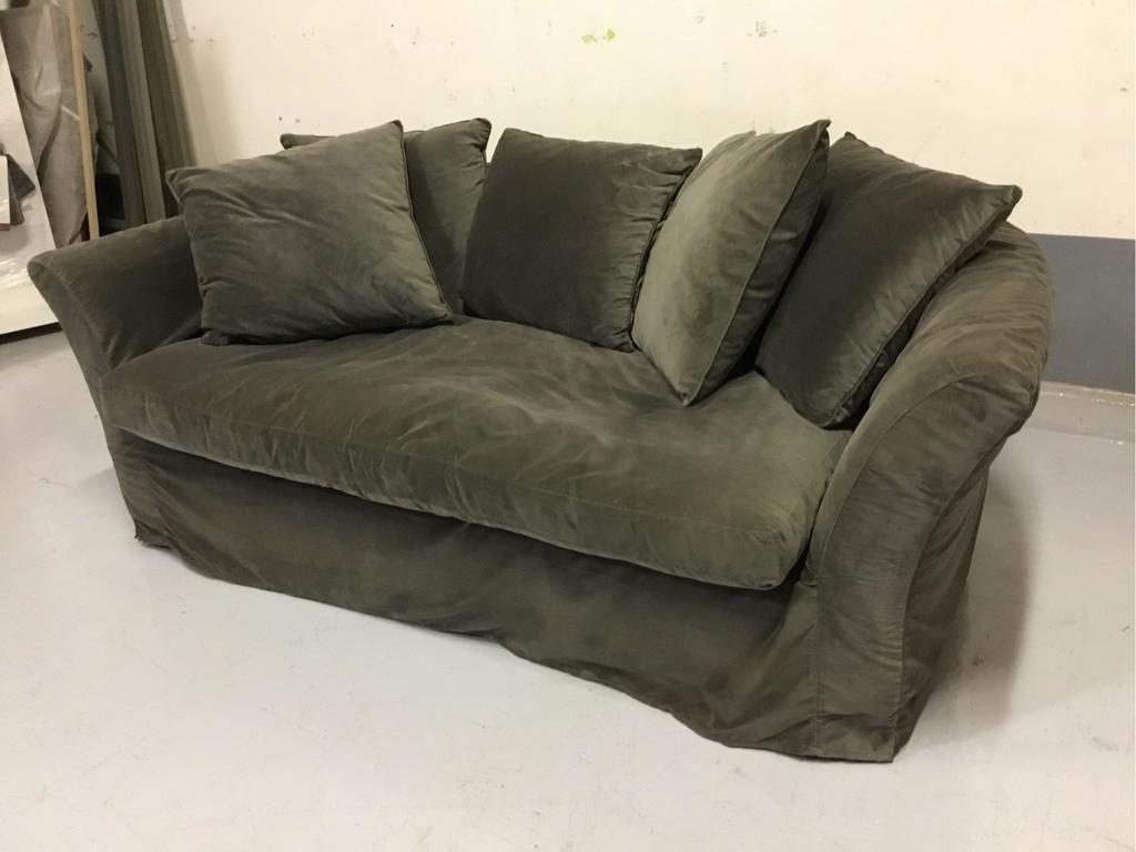 Grey Slip-Covered Fabric Sofa w/Pillows