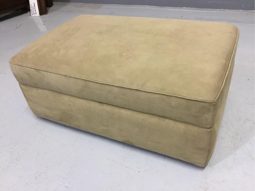 American Leather Beige Microfiber Fabric Storage-Ottoman