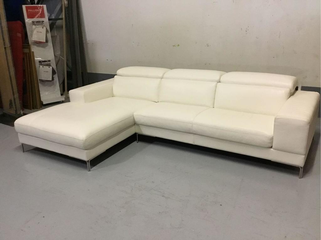 Bellini Modern Living Marlene LHF White Leather Sectional