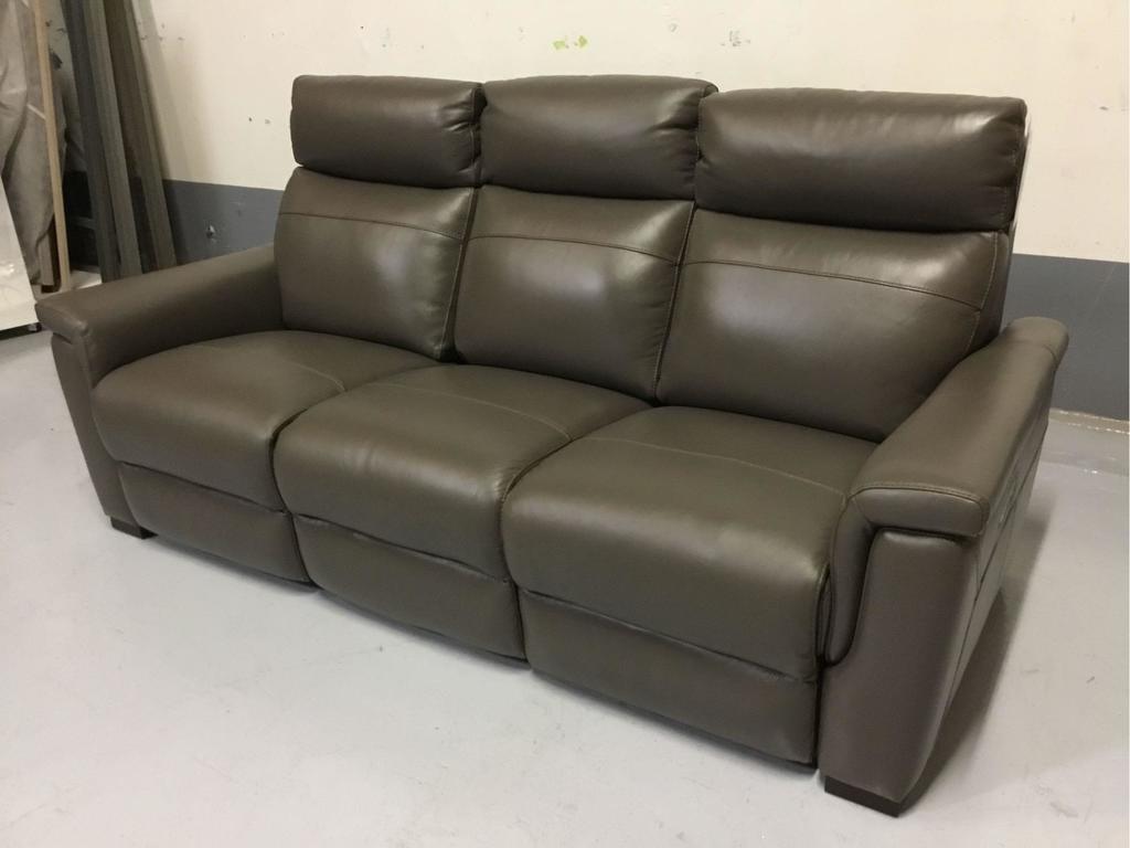 Violino Power-Reclining Brown Leather Sofa