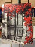 Wooden Door/Floral Themed Decorative Picture