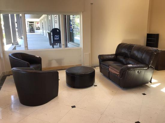 Matching Leather Loveseat, Ottoman and Barrel Chairs