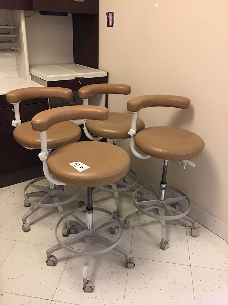 (4) Leather Doctor/Exam Rolling, Swiveling and Height Adjustable Stools