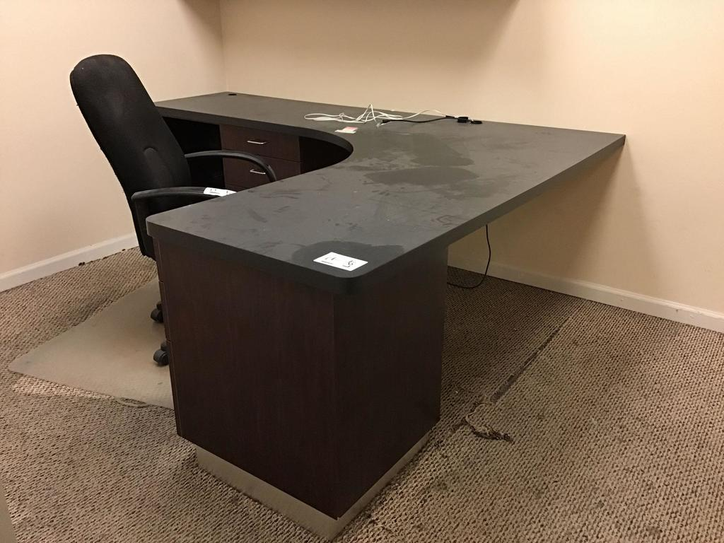 Large Wood *L* Shaped Desk with Left Return and Rolling Office Chair