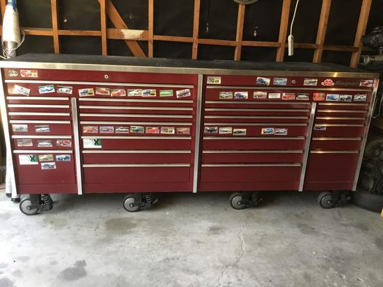 Large 28 Drawer Snap-On Tool Box With Stainless Steel Top In Cranberry***NO KEYS***