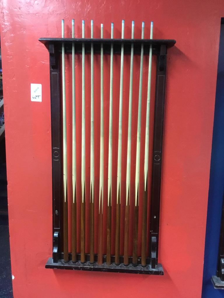 Lot of (10) Cue Sticks and Rack