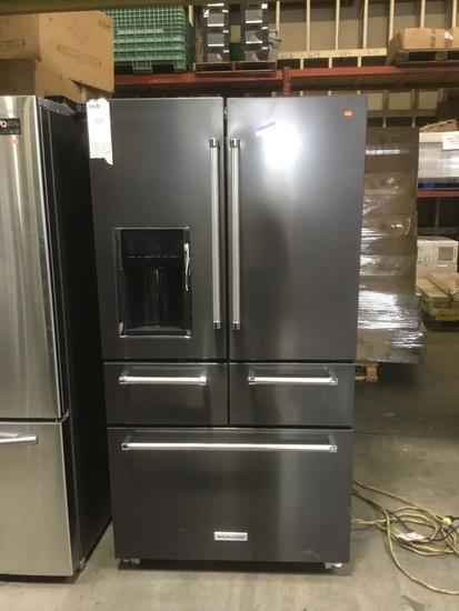 KitchenAid 25.8 Cu. Ft. 36 In. Black Stainless Steel Built-In French Door Refrigerator