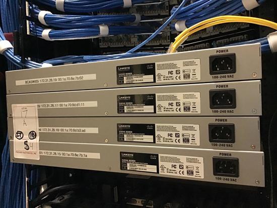 (4) Linksys 2048 48-Port 10/100/1000 Gigabit Smart Switch Rack Mount Units