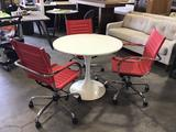 Modern Design Round Table w/3 Adjustable Rolling Chairs
