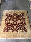 Burgundy and beige 8ft.x8ft. Rug