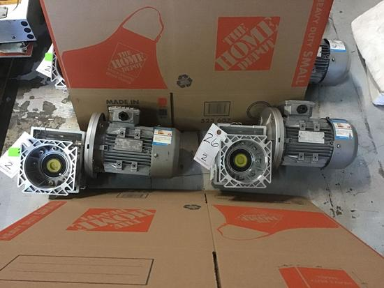 (2) Worm Gear Reducers With Small Electric Motors