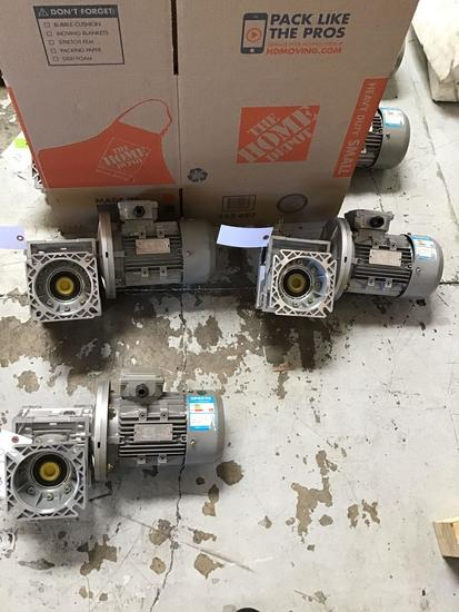 (3) Worm Gear Reducers With Small Electric Motors