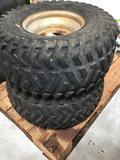 (2) ATV Rims with H-TRAK R/T 502 and 501 AT 24x11.00-10 Tires