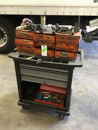 Rolling Tool Chest with Assorted Mill Accessories