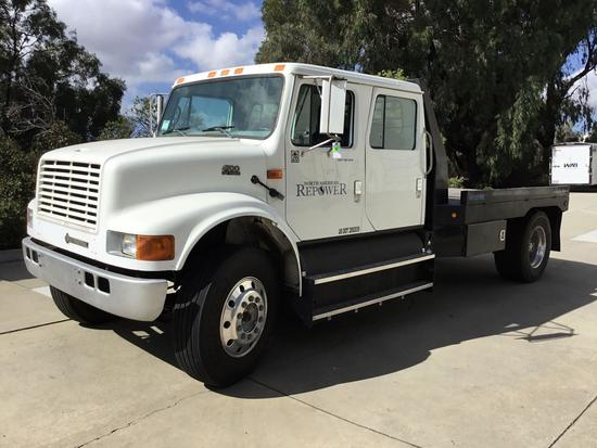 1998 International 4700 CNG 12ft Flat Bed Crew Cab Truck